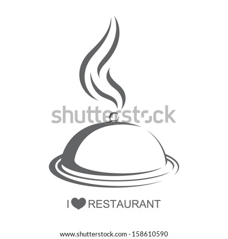 Restaurant 4, Food platter with cover on isolated white background - stock vector