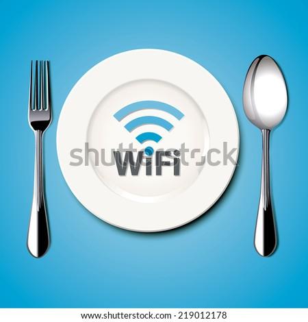 Restaurant Free Wi-Fi. Vector. Illustration. - stock vector
