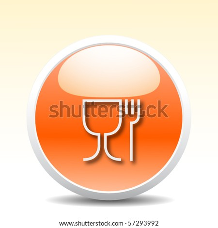 Restaurant glossy icon - stock vector