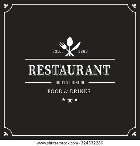 Restaurant graphic design logo template, vintage insignia - stock vector