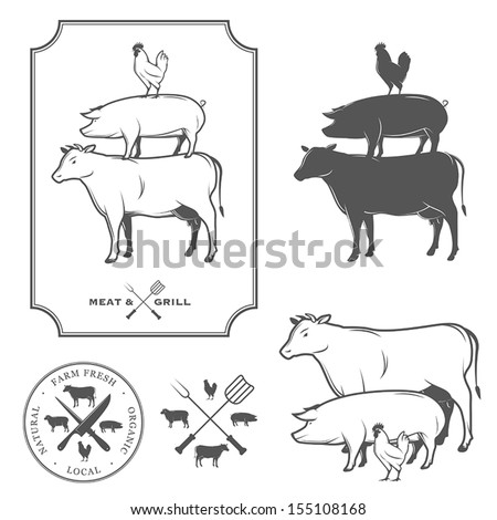 Restaurant grill and barbecue menu design elements - stock vector
