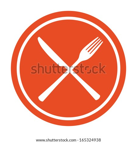 Restaurant icon. Crossed fork and knife. - stock vector
