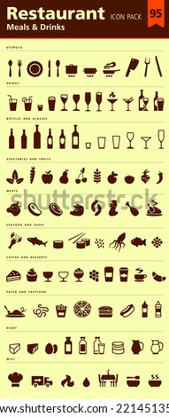 Restaurant icon pack 95 icons set - stock vector