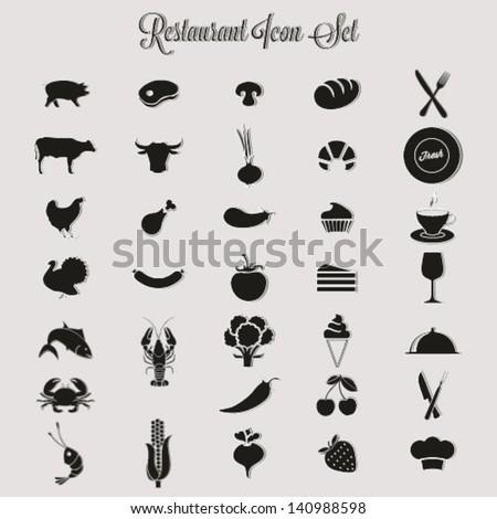 Restaurant icon set - stock vector
