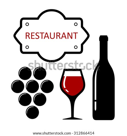 restaurant icon with grapes and wine glass silhouette - stock vector