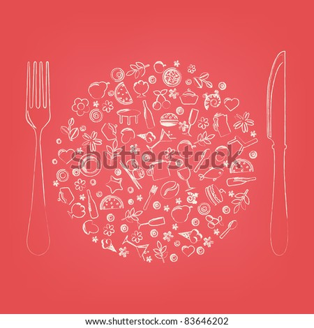 Restaurant Icons In Form Of Sphere, Vector Illustration - stock vector