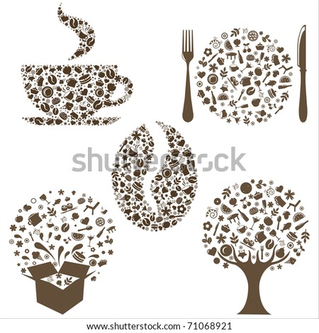 Restaurant Icons In Form Of  Tree, Coffee Grain, Cup, Box And Plate With Plug And  Spoon,  Isolated On White Background, Vector Illustration - stock vector