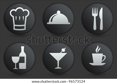 Restaurant Icons on Black Internet Button Collection Original Illustration - stock vector