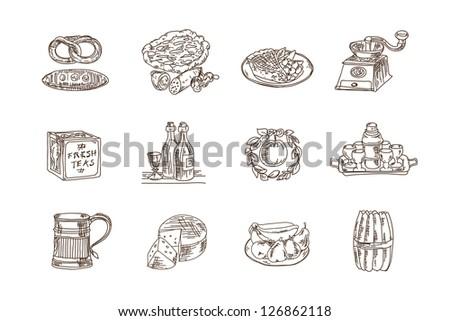 Restaurant Icons on white background. Vector illustration. - stock vector