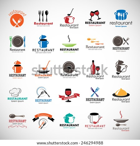Restaurant Icons Set - Isolated On Gray Background - Vector Illustration, Graphic Design, Editable For Your Design  - stock vector