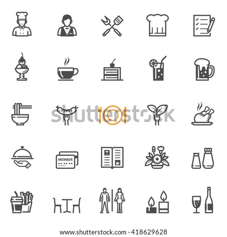 Restaurant icons with White Background - stock vector