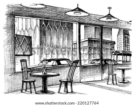 Restaurant interior vector sketch, city street view - stock vector