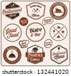 Restaurant Label Collection in Vintage Style - stock vector