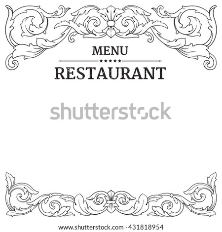 Restaurant label design with old floral frame for vintage menu design. Menu template. Menu designs. - stock vector