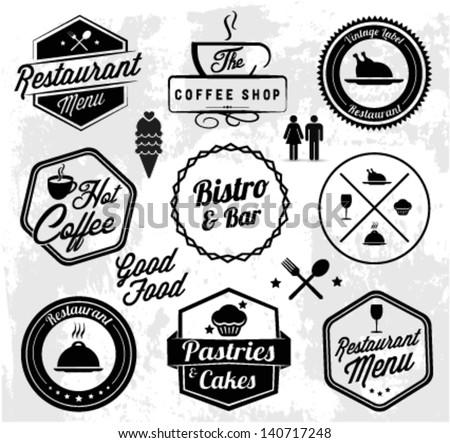 Restaurant Label Set in Vintage Style - stock vector