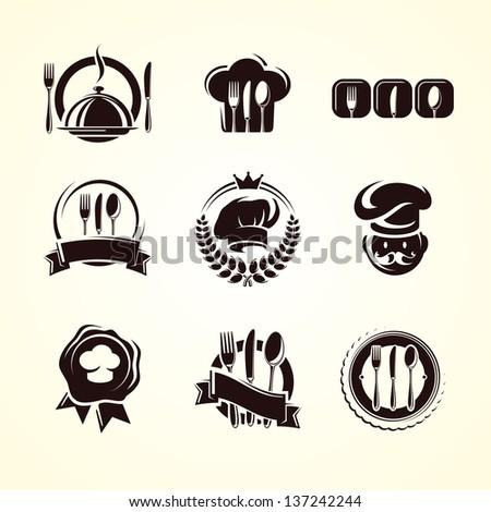 Restaurant labels set. Vector - stock vector