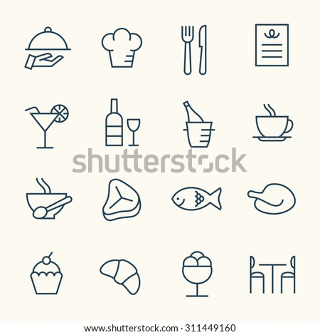 Restaurant line icons - stock vector