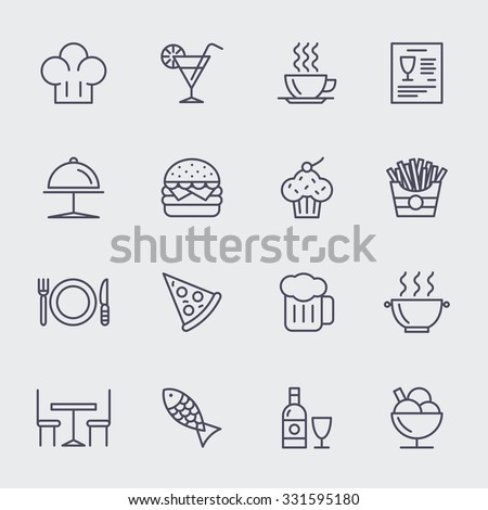 Restaurant line icons vector set. Pizza and ice cream, cupcake and hamburger, food illustration - stock vector