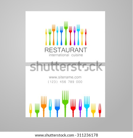 Restaurant logo. Template design. The concept of corporate style restaurants serving international cuisine. An example of a business card. - stock vector