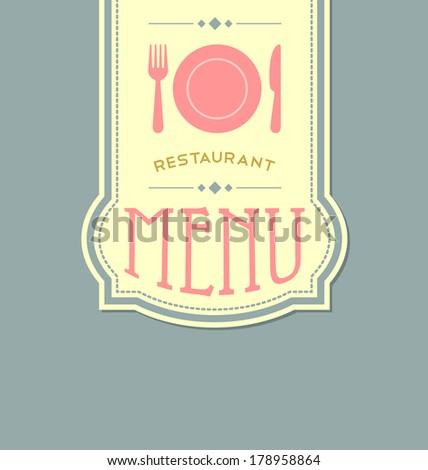 Restaurant menu cover template in retro style - stock vector