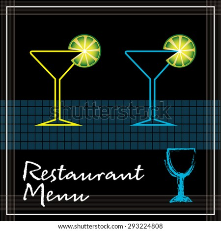 Restaurant menu cover with two cocktail glasses and a small blue glass on the right lower side of the image. Restaurant menu concept - stock vector