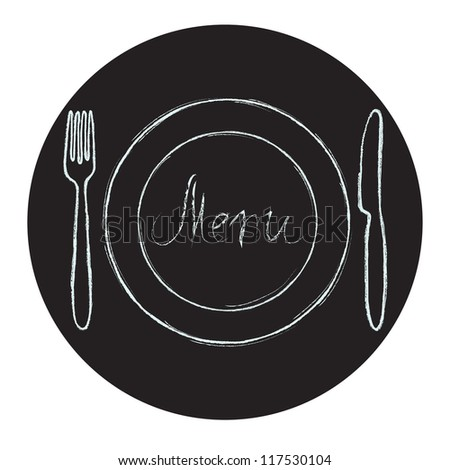 Restaurant menu design. Chalkboard circle with hand drawn knife, fork, plate and Menu word. Vector illustration.