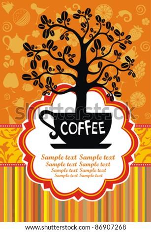 Restaurant menu design. Coffee cup with tree. Vector illustration - stock vector