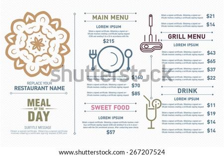 Restaurant menu design. Hipster style. free symbol design.  - stock vector