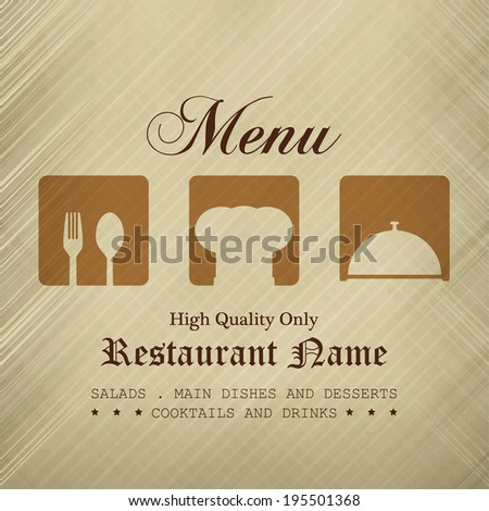 Restaurant menu design / Menu design with spoon, fork and chef hat
