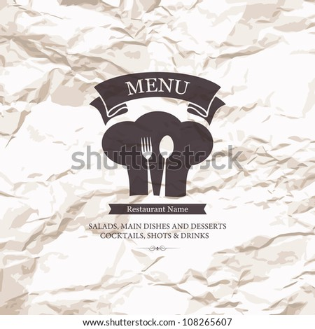 Restaurant menu design on old paper