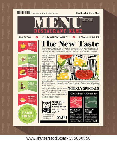 Restaurant Menu Design Template in Newspaper style - stock vector