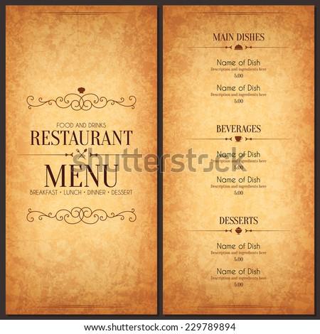 Restaurant menu design. Vector menu brochure template for cafe, coffee house, restaurant, bar. Food and drinks logotype symbol design. Crumpled vintage paper background - stock vector