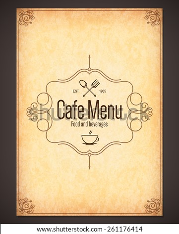 Restaurant menu design. Vector menu brochure template for cafe, coffee house, restaurant, bar. Food and drinks logotype symbol design. With coffee cup, fork and spoon - stock vector