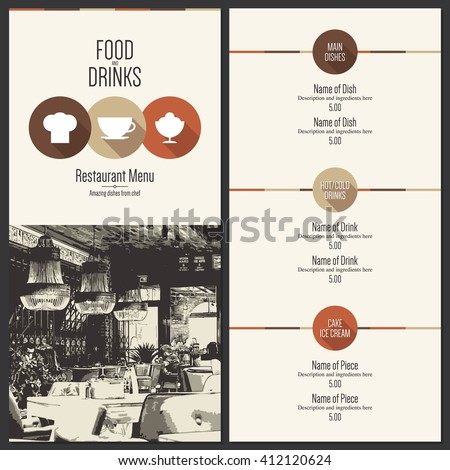 Restaurant menu design. Vector menu brochure template for cafe, coffee house, restaurant, bar. Food and drinks logotype symbol design. With a sketch pictures and flat icons - stock vector