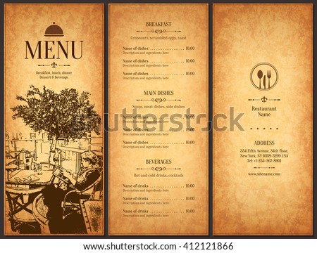 Restaurant Menu Design Vector Menu Brochure Stock Vector Royalty - Menu brochure template