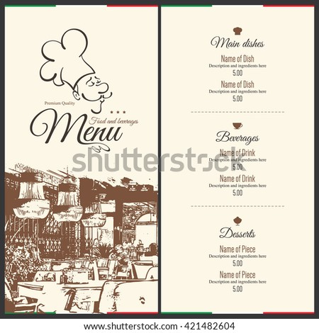Restaurant menu design. Vector menu brochure template for cafe, coffee house, restaurant, bar. Food and drinks logotype symbol design. With a sketch pictures - stock vector