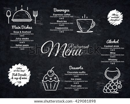 Restaurant menu design. Vector menu brochure template for cafe, coffee house, restaurant, bar. Food and drinks logotype symbol design. With a crumpled vintage background - stock vector