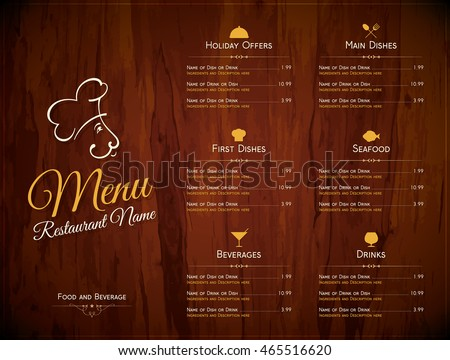 Restaurant Menu Design Vector Menu Brochure Stock Vector