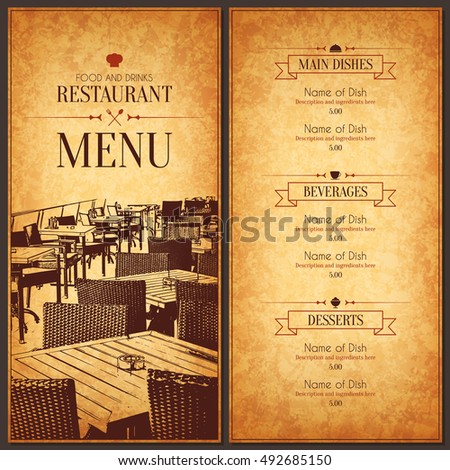 Restaurant menu design vector menu brochure stock vector for Cafe brochure design