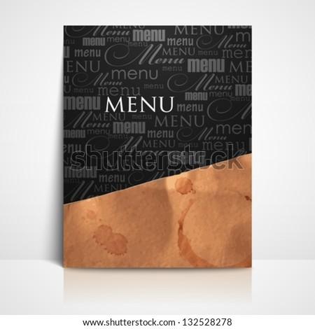 restaurant menu design with grunge cardboard texture - stock vector