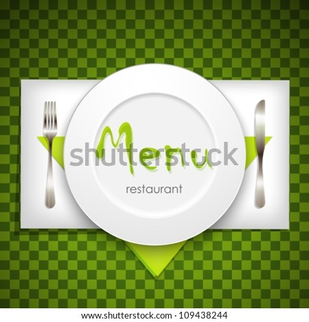 restaurant menu design with plate and silverware - stock vector