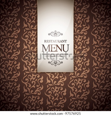Restaurant menu design, with seamless background - stock vector
