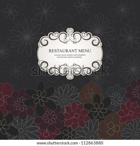 Restaurant menu design, with stylish flower background - stock vector