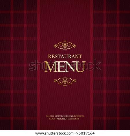 Restaurant menu design, with trendy plaid background - stock vector