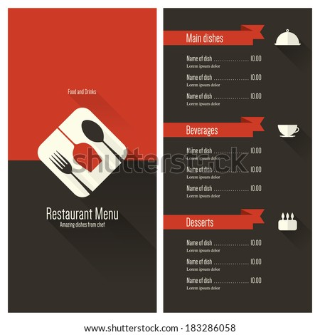 Restaurant menu. Flat design - stock vector