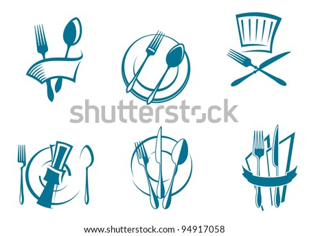 Restaurant menu icons and symbols set for food industry design. Jpeg version also available in gallery - stock vector
