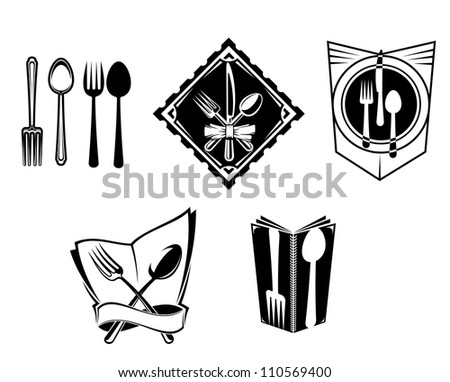 Restaurant menu icons and symbols set for food service design, such a logo. Jpeg version also available in gallery - stock vector