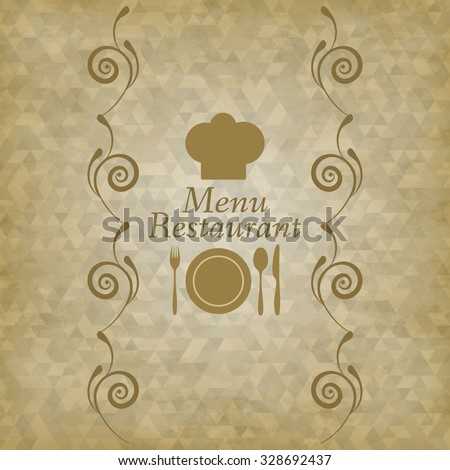 Restaurant menu logo - vector illustration. Triangles background vintage with transparency. Curls.