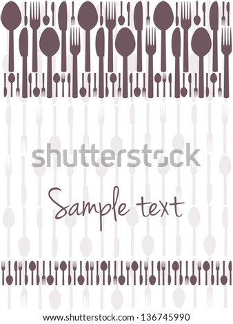 Restaurant menu or food card design, background with cutlery - stock vector