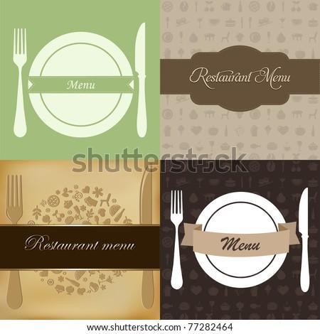 Restaurant Menu Set, Vector Illustration - stock vector